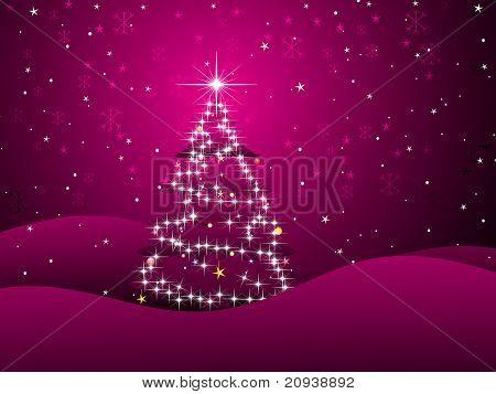 abstract magenta background with shiny xmas tree