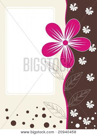 abstract halftone pattern card with pink flower