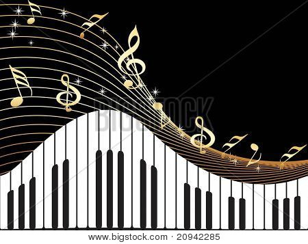 black background with musical instrument and notes illustration
