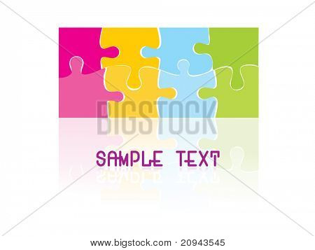 background with colorful puzzle, vector illustration