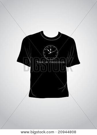 vector illustration of isolated tshirt with time is precious concept