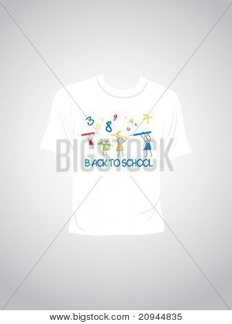 vector isolated tshirt with back to school concept