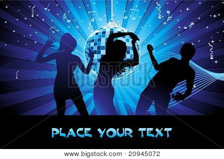 abstract blue wave, musical notes background with hanging disco ball, youth silhouette