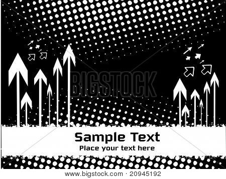 black background with white spot and arrows