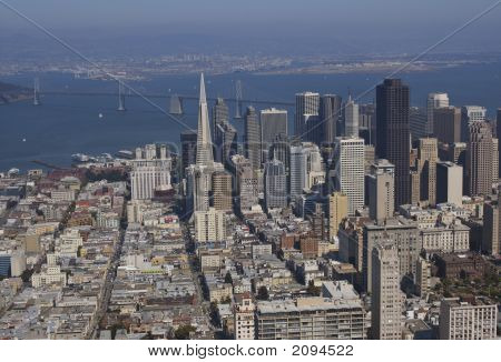 Aerial View Of Bay Bridge And Downtown, San Francisco