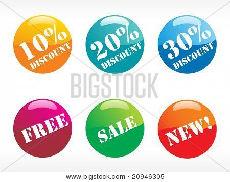rounded colorful dscount tag vector