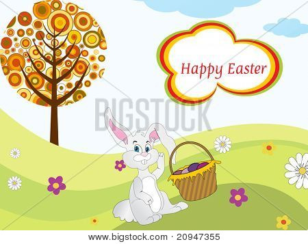 easter bunny sit in garden background