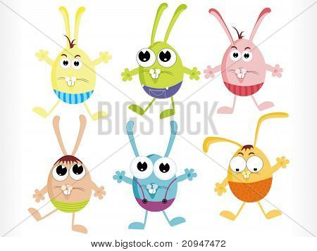abstract white background with set of cartoon eggs