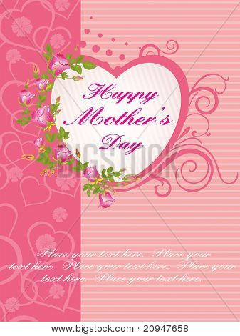abstract heart shape elegance card for dear mom