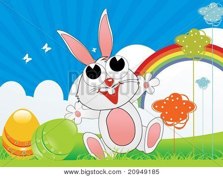 meadow background with smile rabbit, colorful egg, rainbow illustration