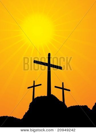 illustration of 3 crucifixion crosses on hill at sunrise background