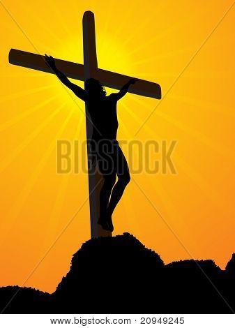 Resumen fondo amarillo rayos con Jesús en la Cruz en la montaña