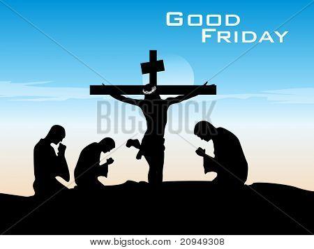 Fondo de Viernes Santo con gente orando a Dios