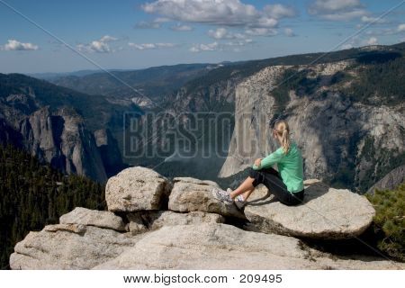 Hiker Overlooking Yosemite Valley I