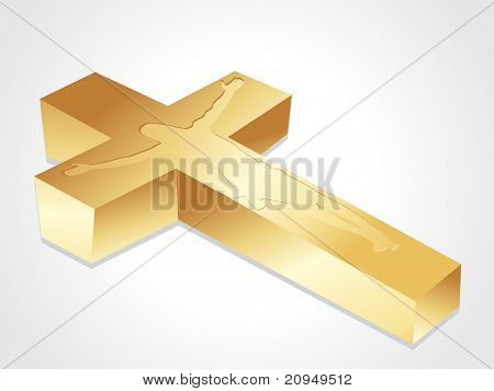 isolated golden cross with jesus christ on white background