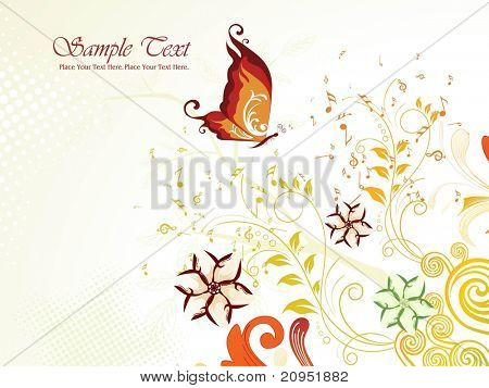 abstract creative floral pattern background with musical notes, butterfly