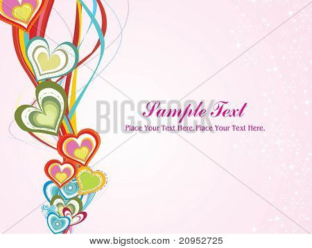 pink snowflake background with colorful heart, stripes