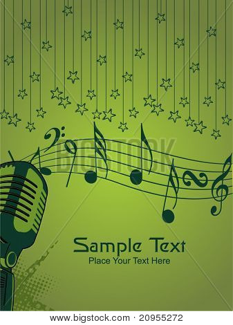 green hanging star background with grungy mike, musical notes