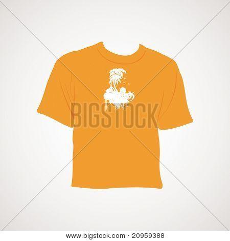 grey background with isolated orange t shirt