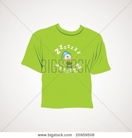 grey background with isolated green tshirt