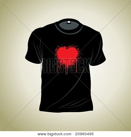 romantic grungy heart tshirt isolated on background
