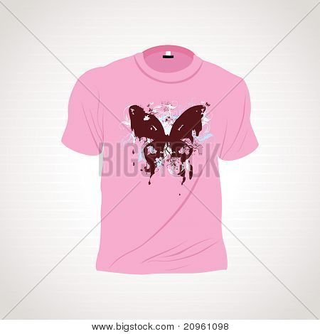 background with isolated pink tshirt, illustration