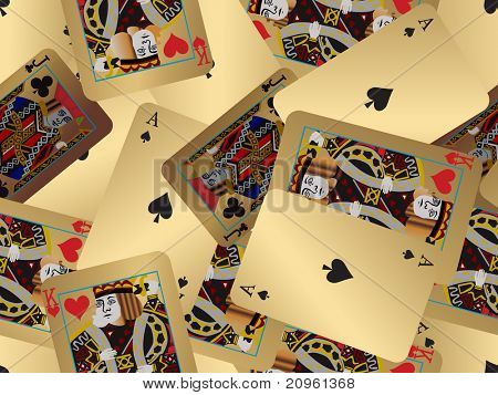 background with collection of antique playing cards