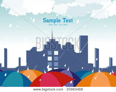 abstract rain falling background with cityscape and colorful umbrellas