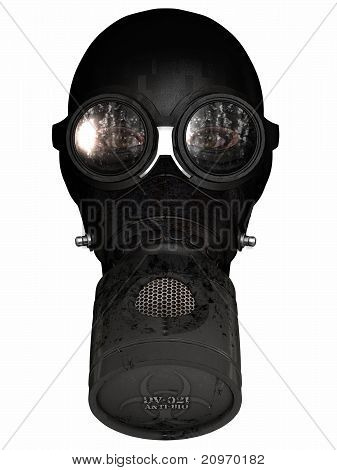 Girl in gasmask