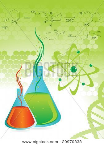 honeycomb background with chemical formula, laboratory flask