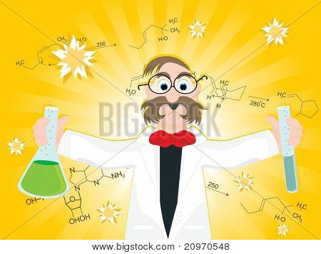 abstract yellow rays, chemical formula background with professor holding lab tube