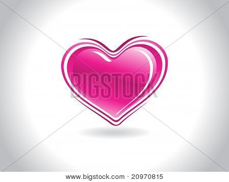 abstract grey background with isolated pink heart, vector illustration