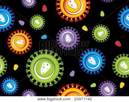 black background with colorful hiv virus pattern, vector illustration