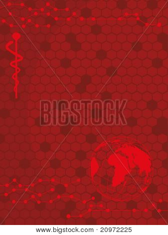 abstract red honeycomb background with caduceus, globe