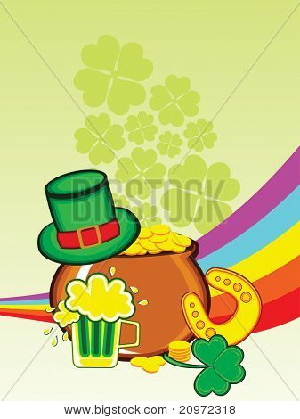 abstract shamrock, rainbow background with earthenware, leprechaun hat, beer mug and horseshoe