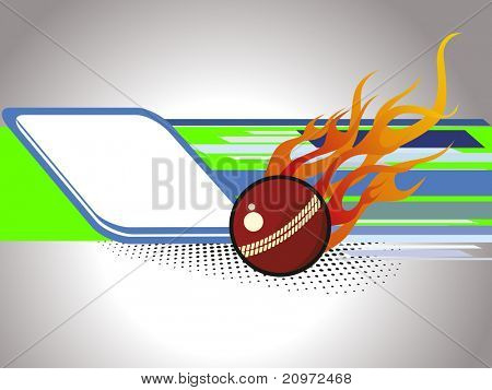 abstract background with isolated fire cricket ball, illustration