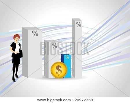 abstract business graph background with dollar symbol coin