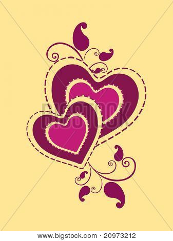 abstract yellow background with floral decorated magenta heart