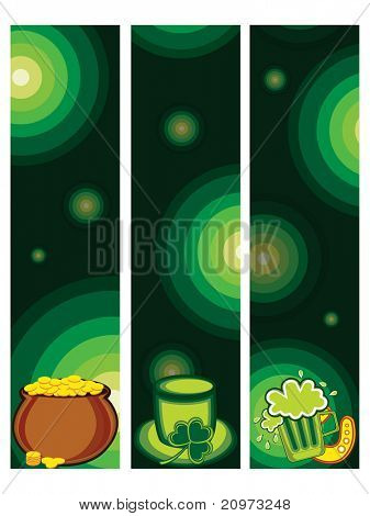 abstract background with set of three st. patrick day banner, illustration