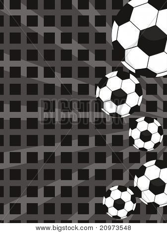 abstract rays background with collection of footballs