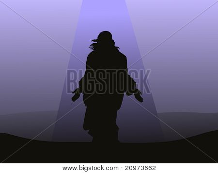 abstract light background with jesus christ, vector illustration