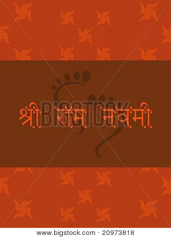 swastika pattern background with god rama foot print