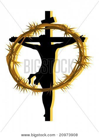 background with crucifixion of jesus, crown of throns