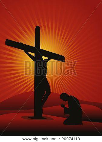 Fondo de rayos con hombre rezando a Jesús, vector illustration
