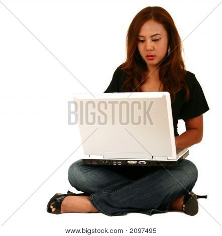 Beautiful Model Working With Laptop