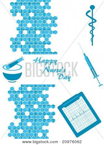 abstract honeycomb background with medicine, injection and caduceus