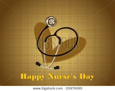abstract happy nurse's day background with isolated heart, stethoscope