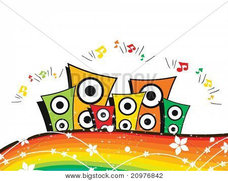 abstract rainbow background with colorful speaker, musical notes