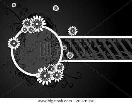 abstract grungy flower decorated frame, vector illustration