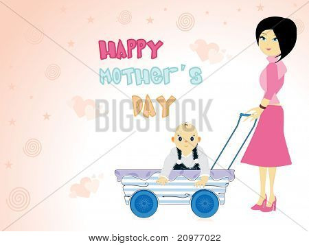 abstract concept background with mom holding baby's trolly